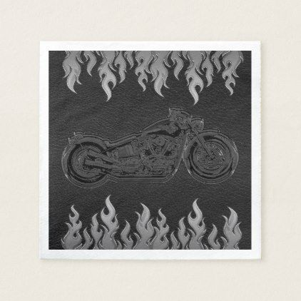 Black Leather Silver Chrome Motorcycle Biker Party Paper Napkin - shower gifts diy customize creative