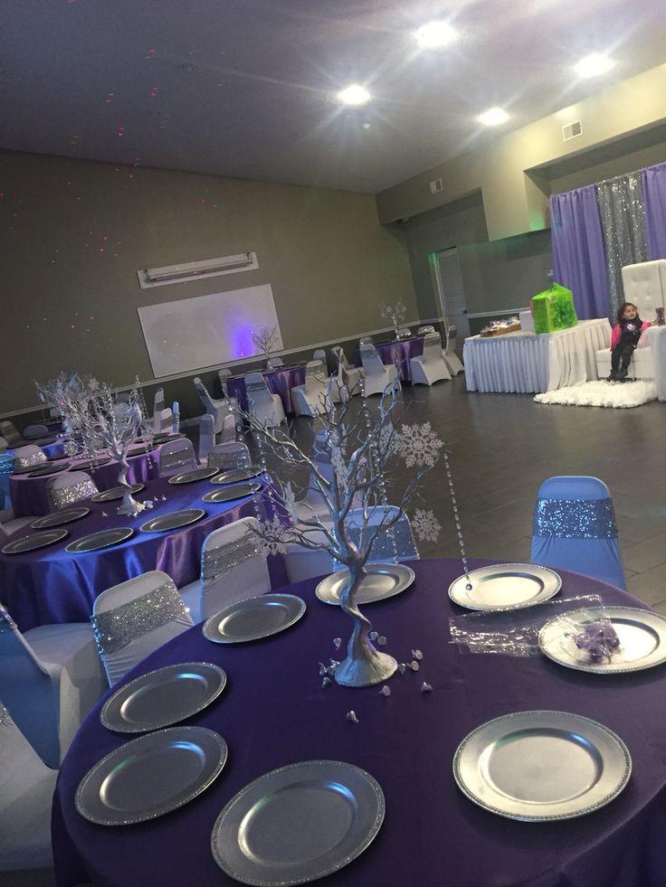 Purple Winter Wonderland Snowflake Hall Setup