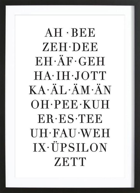 ABC von Eulenschnitt als Poster im Holzrahmen ✓ …