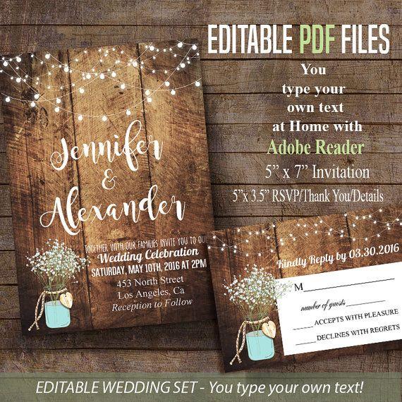 Printable Wedding Invitation Rustic barn Wedding by ByMiniStore