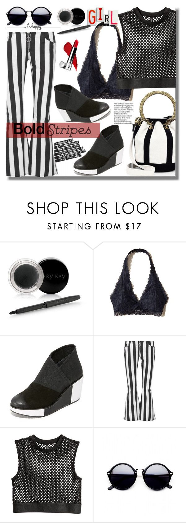 """""""#331 ~ Strong Stripes: Graphic Striped Pants"""" by cresentia-titi ❤ liked on Polyvore featuring Fabulicious, Mary Kay, Hollister Co., UN United Nude, Marques'Almeida, Edie Parker, 25 and stripedpants"""
