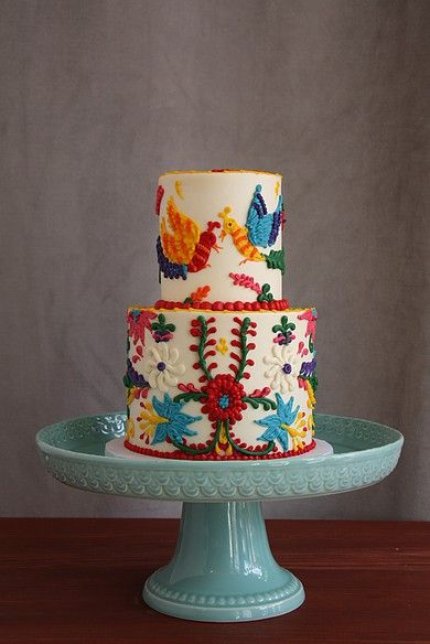 This is the most colorful baby shower cake I've ever made! It's entirely fondant free! It was inspired by mexican artwork.