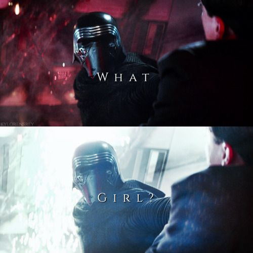 "When Kylo says ""girl"" the background goes from red to white. Symbolizing that she will be the key point in his return to the light side."