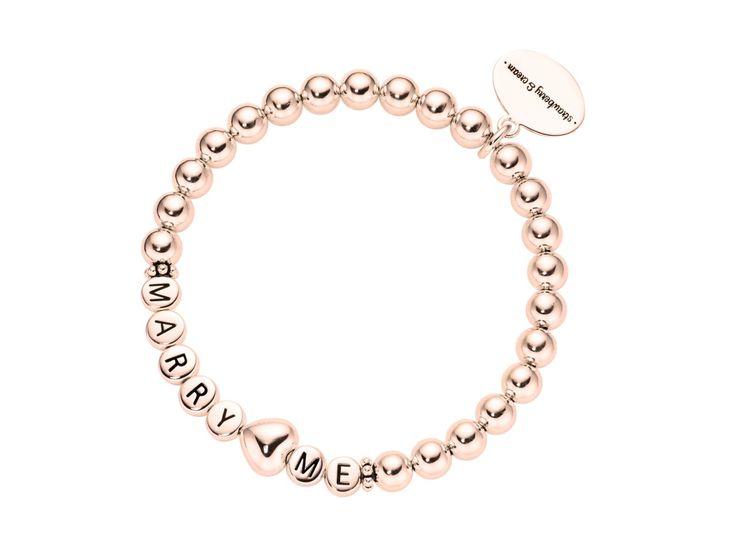 ladies rosegolden silver letter & heart bracelet