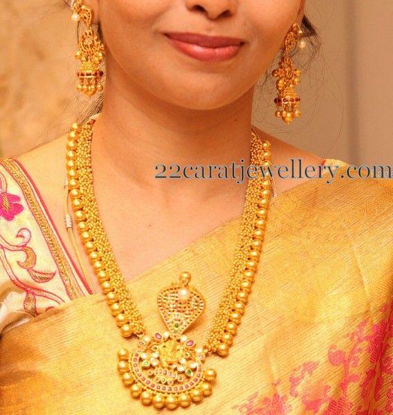 Gold Swirls Naga Haram Jhumkas | Jewellery Designs