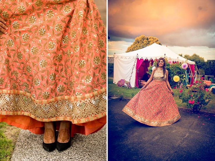 A peach and gold crop top and skirt from New Delhi-based Bharti and Aashna Khurana for the mehendi of Bride Ridhima of WeddingSutra. #weddingsutra #bridallehenga #lehenga #Indianbride #Indianoutfit #bridallook #weddingideas #peach #gold #bhartiandaashnakhurana Photos Courtesy: PhotoTantra & Perspectives Photo and Cinema