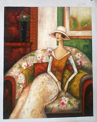 Noble Lady Interior Art Decor Abstract Hand Painted Oil Painting Cavas 16*20in