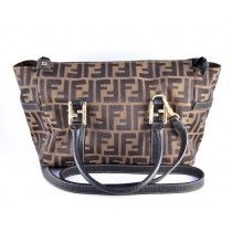Fendi Zucca cross- body i canvas og sort skinn