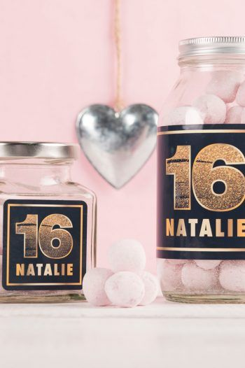 Personalised Jar Of Strawberry Bonbons Gold Glitter 16 220x330 Sweet 16th birthday Gift Ideas
