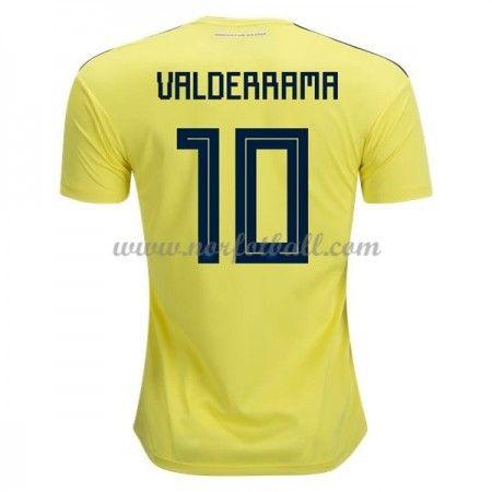 Billige Colombia Drakt VM 2018 Carlos Valderrama 10 Kortermet Hjemme Fotballdrakter
