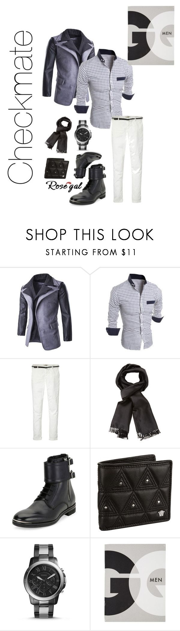 """""""Checkmate"""" by scope-stilettos ❤ liked on Polyvore featuring Maison Scotch, Tom Ford, Alexander McQueen, Versace, FOSSIL, Assouline Publishing, men's fashion and menswear"""