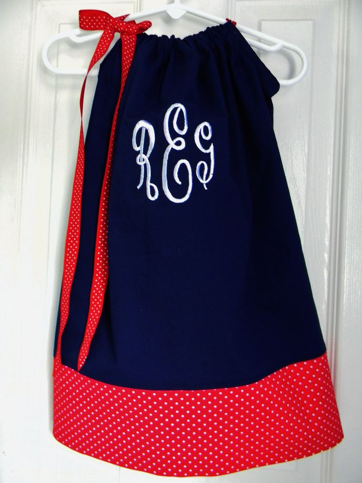 would be such a cute 4th of July outfit!: Monograms Navy, July Dresses, Pillowcase Dresses, Cubs Dresses, Chicago Cubs, Monograms Pillowcases, Pillowcases Dresses, 26 95, Red Pillowcases