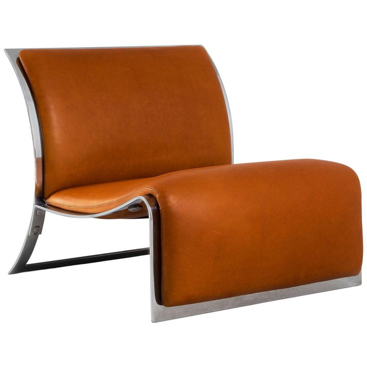 Lounge Chair In Chrome And Cognac Leather By Vittorio Introini For Saporiti