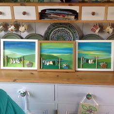 Shetlands artist Sarah Kay. Unique design clothesline pictures for sale £39.99 www.sarahkayarts.com. Sea glass, sea pottery, up cycled jewellary