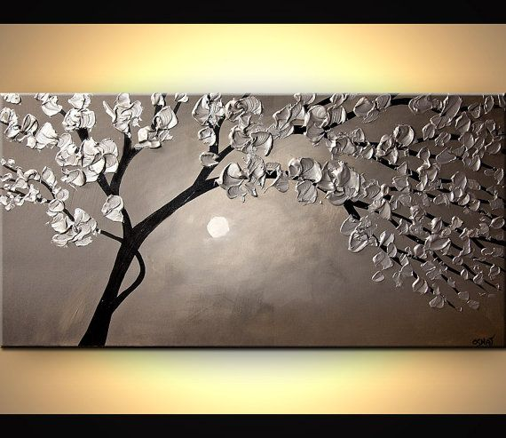 Landscape Blooming Trees Painting Original by OsnatFineArt on Etsy                                                                                                                                                     Mais