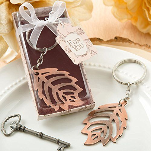 30 Copper Color Metal Fall Leaf Design Key Chain -- See this great product.