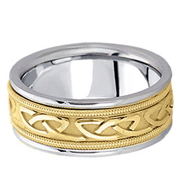Allurez Hand Made Celtic Wedding Band in 14k Two Tone Gold (8mm) ($1,100) ❤ liked on Polyvore featuring men's fashion, men's jewelry, men's rings, mens diamond band wedding ring, mens band rings, mens yellow gold diamond rings, mens gold wedding rings and mens gold rings