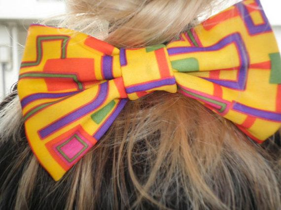 Yellow love bow. Handmade hair bow. Free shipping by jtfashionsoul