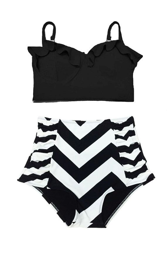 Black Midkini Top and Chevron Swimsuit Swimwear Bathing Suit Beachwear Swimdress Swim dress Bikini set Two piece Swimsuits Bathing Suits S M by venderstore on Etsy