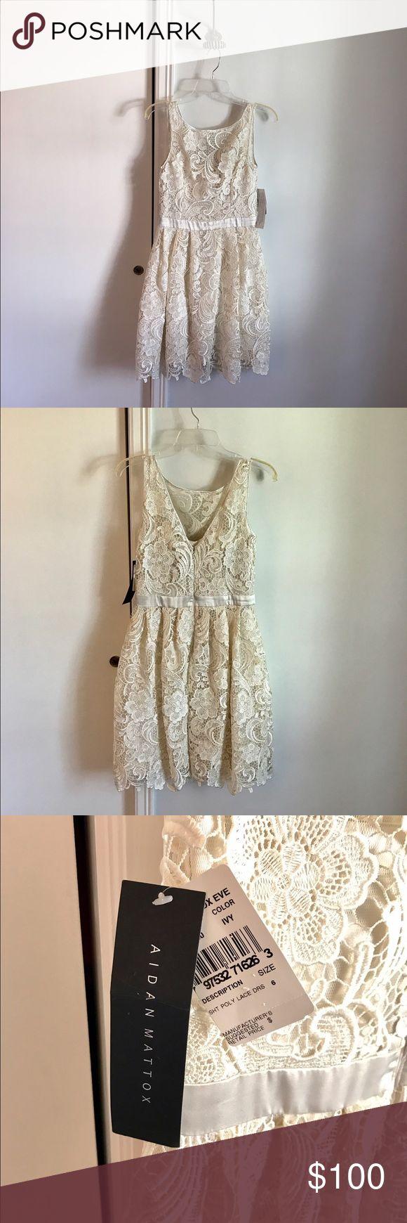 New Aidan Mattox Ivory Lace Reception Dress Beautiful brand new Aidan Mattox reception dress. Size 6, never worn. Runs small in the chest. Aidan Mattox Dresses Wedding