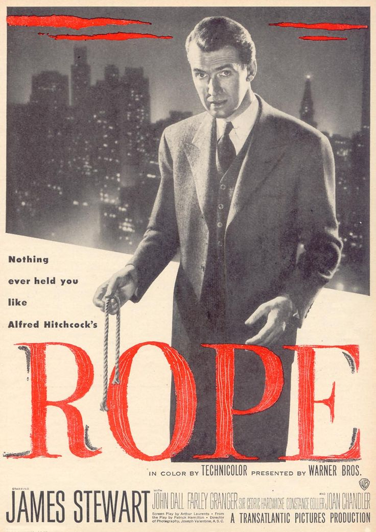 Rope by Alfred Hitchcock (1948) // A masterpiece. It was done almost entirely in one continuous take. When Hitchcock had to change film reels, he aimed the camera at a dark surface, such as the back of a man's dark suit, for a seamless switch.