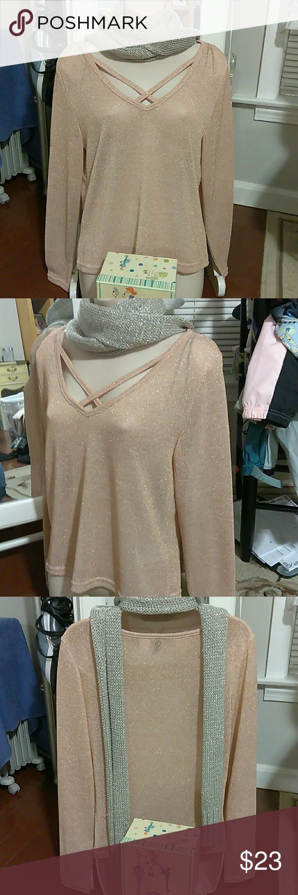 H&M DAVID L Sparkly Top Festive H&M DAVID Large Sparkly Peach Colored Pull Over Top, Long Sleeve with Criss cross V-neck, Beautiful over a Black Tank with Black Skinny Jeans and Boots!!! In Excellent Condition, worn once if that! From a smoke free home! H&M Tops
