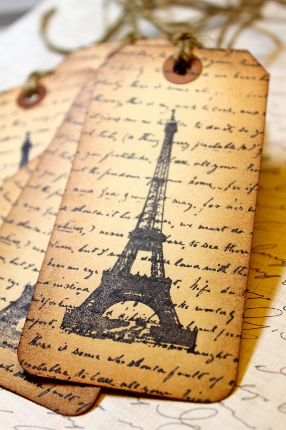 Vintage Inspired Tags  Letter From Paris  Set by JacquelynVaccaro, $6.50