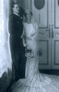 Georg Donatus and his bride, Princess Cecilie of Greece and Denmark, who was a sister of Prince Philip. Like many deposed German royals Georg, along with Cecilie, joined the Nazi Party in May, 1937, six months before they and their 2 eldest children were killed in a plane crash.