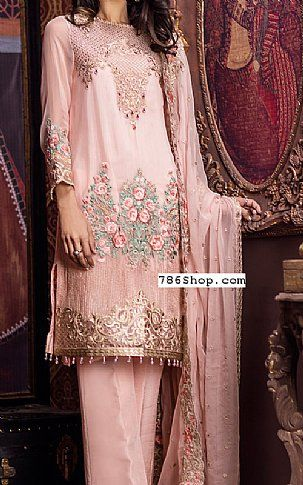 Peach Chiffon Suit | Buy Imrozia Pakistani Dresses and Clothing online in USA, UK