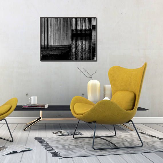 Modern black and white geometric poster. Abstract composition depicting concrete pillars of a bridge reflecting in a river. Poster is available in multiple sizes: 8 x 10 in, 12 x 16 in, 16 x 20 in, 18 x 24 in, 24 x 36 in. +++ #wallart #walldecor #geometric #geometricposter #geometricartprint #moderngeometric #blackandwhiteposter #industrialdecor