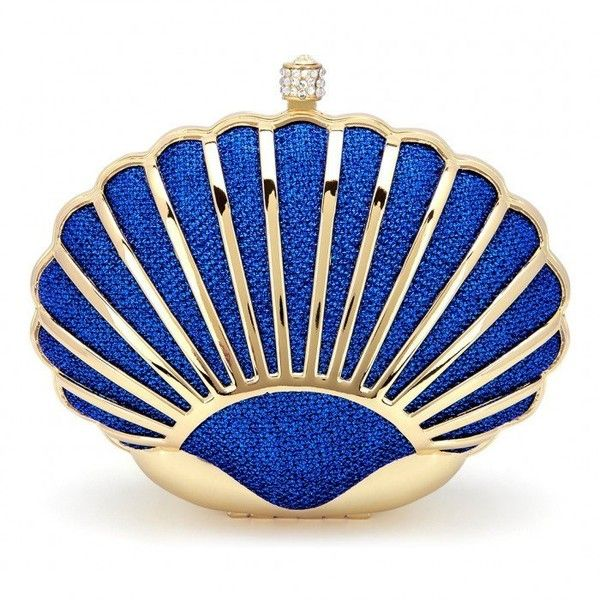 Yoins Shell Clutch Bag ($27) ❤ liked on Polyvore featuring bags, handbags, clutches, blue, seashell purse, blue purse, blue handbags, sequin purse and handbags purses