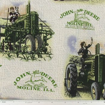 John Deere Vintage Scenic Cotton Calico Fabric Idea Board For Jack