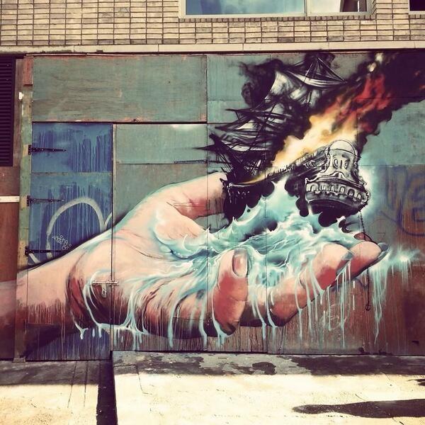 Artist Martin Ron latest Street Art wall in Shoreditch, London