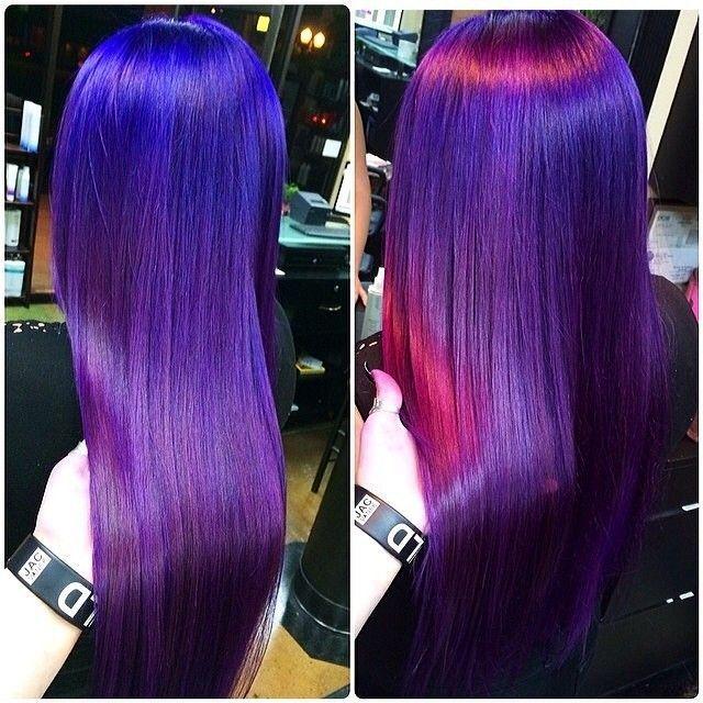 iridescent hair purple pink blue