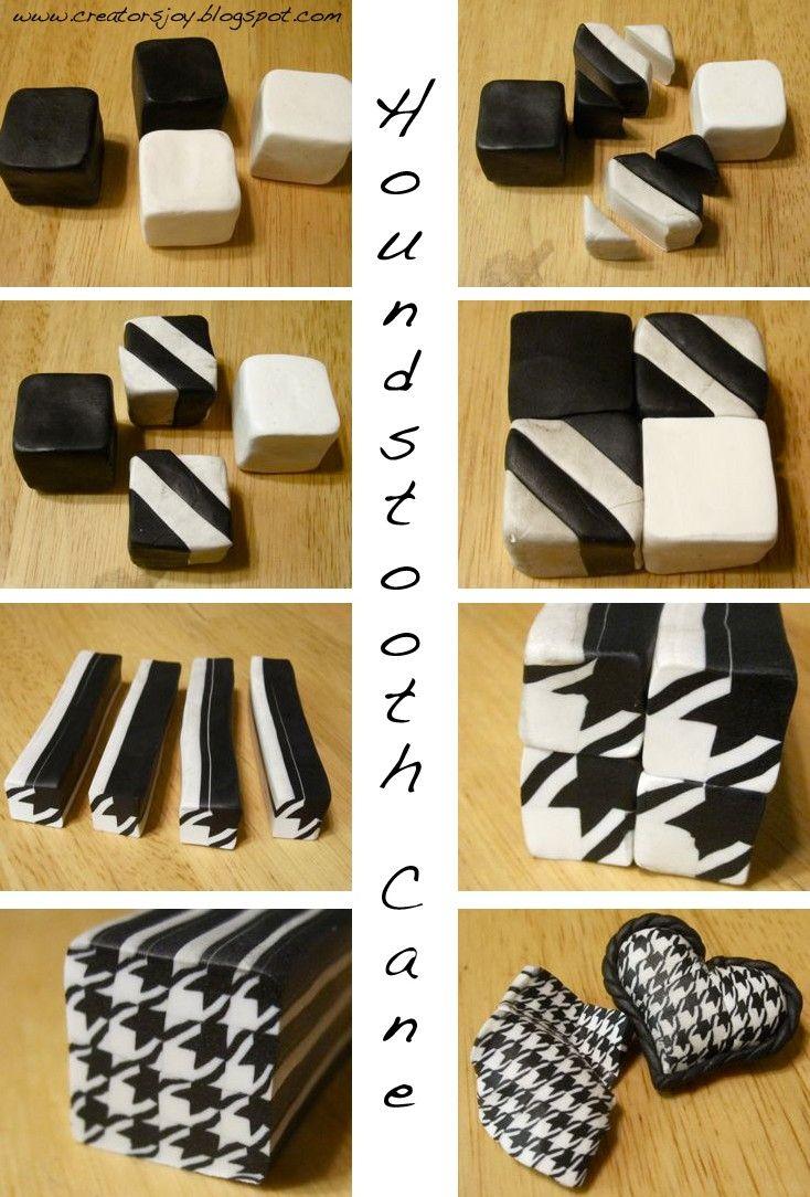tutoriel cane fimo imitation tissu pied de poule - Elara Creatif