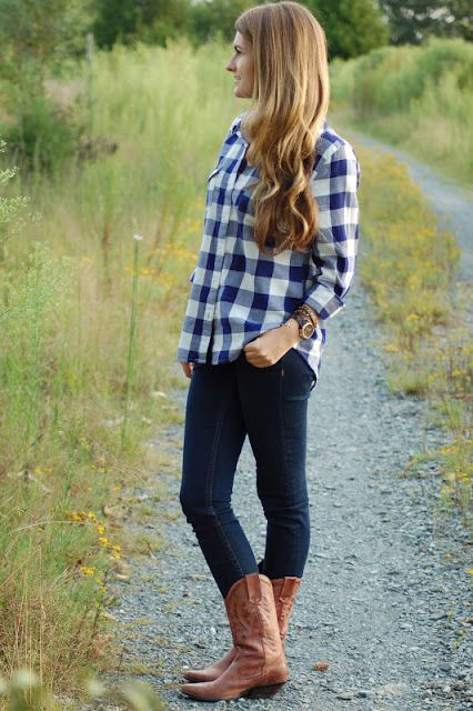 Southern Curls & Pearls - Plaid shirt with skinny jeans and brown cowboy boots.  My kinda casual!