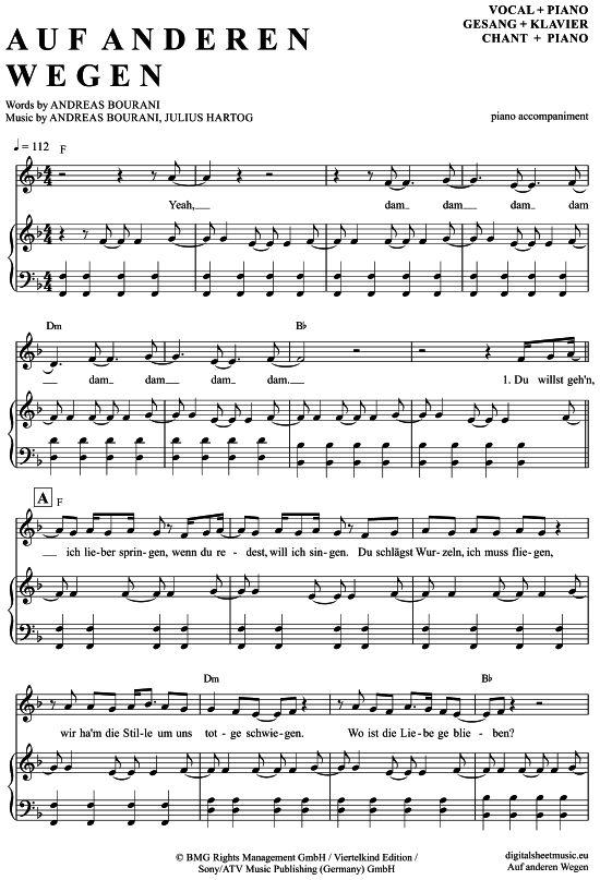 Auf anderen Wegen (Klavier Begleitung + Gesang) Andreas Bourani [PDF Noten] >>> KLICK auf die Noten um Reinzuhören <<< Noten und Playback zum Download für verschiedene Instrumente bei notendownload Blockflöte, Querflöte, Gesang, Keyboard, Klavier, Klarinette, Saxophon, Trompete, Posaune, Violine, Violoncello, E-Bass, und andere ...