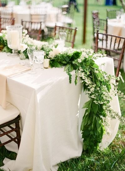This kind of garland has a serious way to our hearts: http://www.stylemepretty.com/2014/08/28/simply-romantic-summer-backyard-wedding/ | Photography: Lauren Fair - http://www.laurenfairphotography.com/