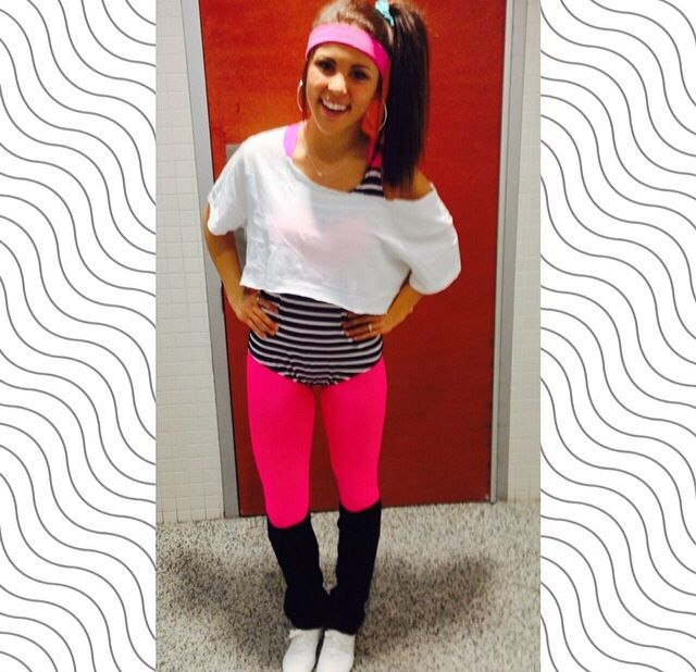 so cute Halloween costume! 80s neon workout!