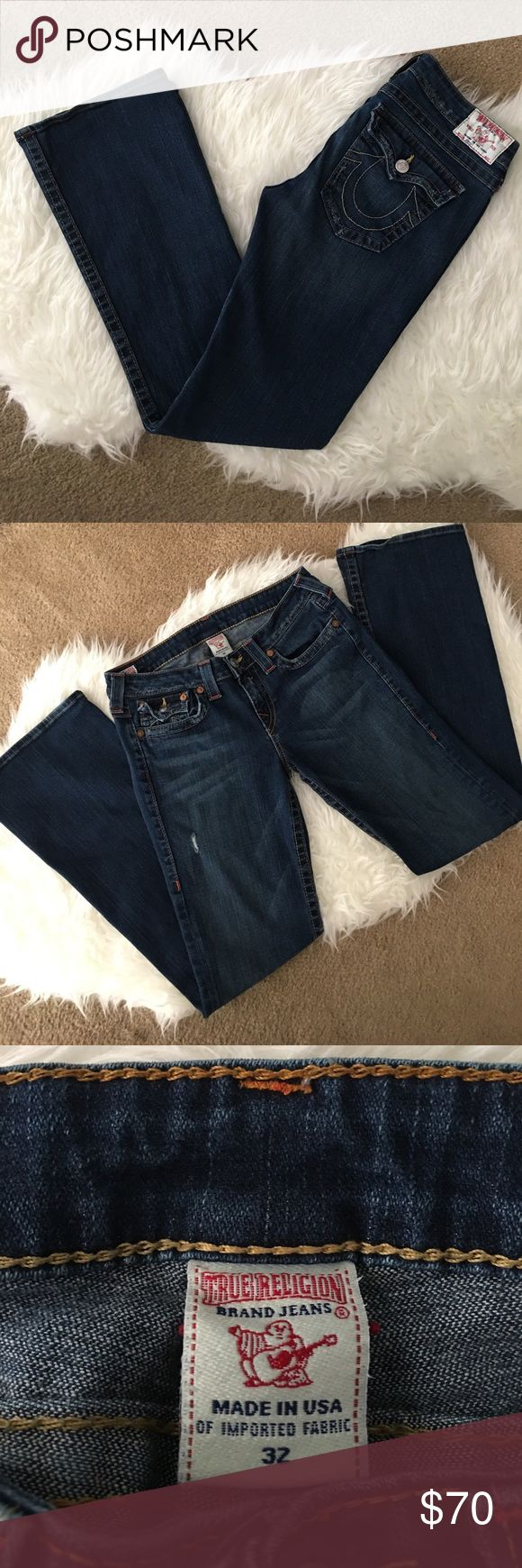 """💥Sale💥 True Religion 'Becky' Bootcut Jeans True Religion 'Becky' Bootcut Jeans Dark Wash.                                     - Excellent Condition; All pictures show little wear.                 - No fraying on bottom of hem or holes.                                - Size 32; Inseam 33"""", Rise 9"""".                                                 - See size chart for measurements.                                       - Open to offers or bundle to save additional $ or private discount. True…"""