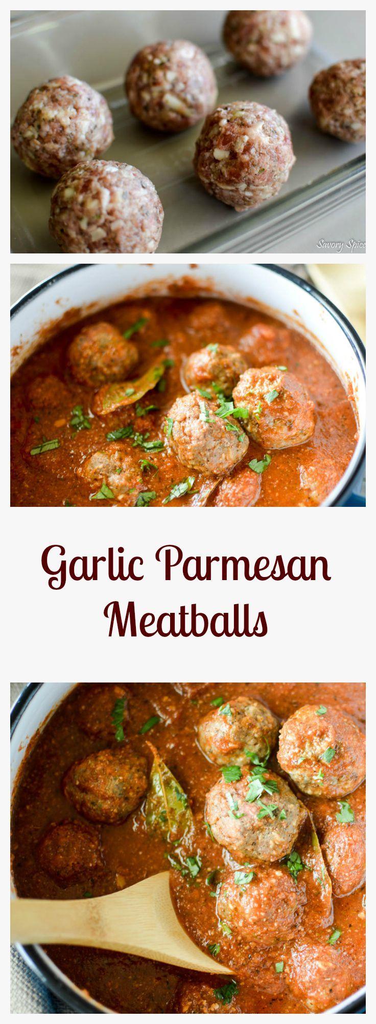 Delicious Garlic Parmesan Meatballs. Freezer Friendly for menu planning.