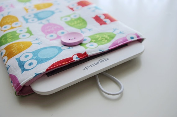 kindle touch sleeve/  case Happy owl pink by crafTime9 on Etsy, $16.00