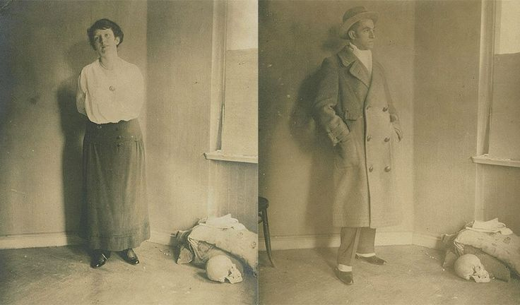 From the Guggenheim Archives, we found these mysterious photographs of the museum's first director Hilla Rebay and artist Rudolf Bauer, taken next to human skulls circa 1918.