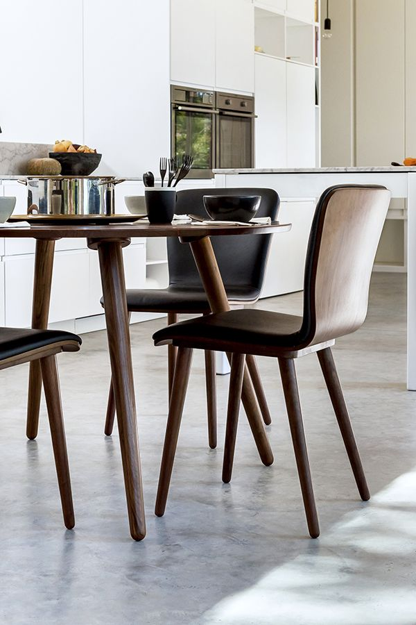 2 X Black Leather Dining Chair In Walnut Wood | Article Sede Modern  Furniture