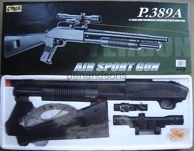 cool New Cyma P389A Airsoft Spring Powered Shotgun Gun Rifle w6mm bb Laser Scope - For Sale Check more at http://shipperscentral.com/wp/product/new-cyma-p389a-airsoft-spring-powered-shotgun-gun-rifle-w6mm-bb-laser-scope-for-sale/