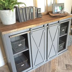 closeup of the gray sliding barn door console table for sale see previous