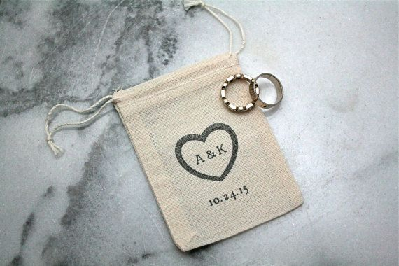 Personalized wedding ring bag.  Ring pillow alternative, ring bearer accessory, ring warming ceremony.  2.5x4 muslin bag.
