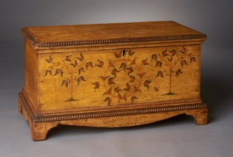Centre County, Pennsylvania, Miniature Decorated Chest, pine, painted creamy mustard with tulip tree motif and turned moldings, 10.75 h. x 20.75 W. x10.5 D.