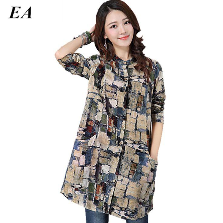 Blouse feminina 2016 linen big dress shirt female ladies Long Sleeve Casual Blouse Plus Size women Casual Style Cotton Shirts