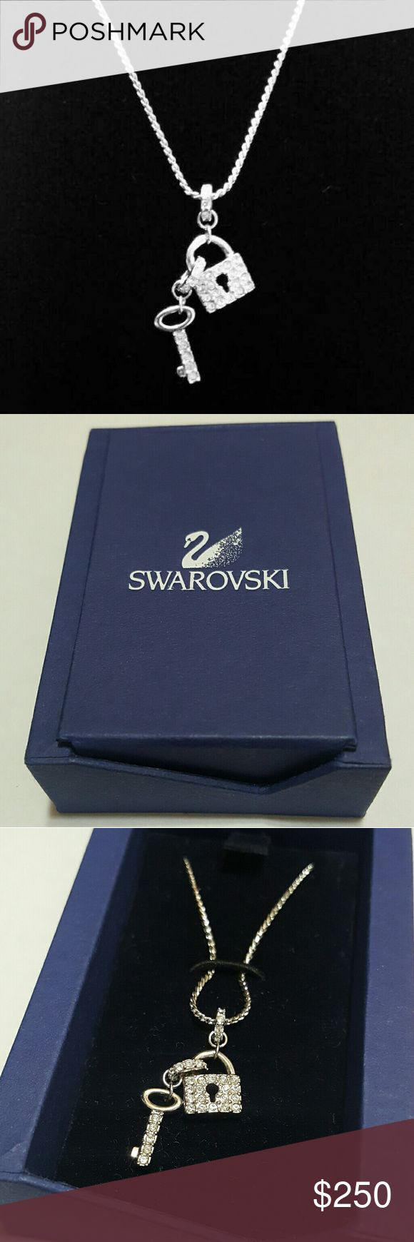 ⤵⤵Authentic Swarovski Lock and Key Necklace Swarovski Lock and Key. Best Valentine's Gift! ABSOLUTELY NWB! Been stored. Guarantee Authentic. Rhodium Plated. Color will never change. Comes wt original box. No missing stones. Prestige Condition! Come visit for great selection of high end name brand accessories and handbag replacement chain gold curb Italian design available now! 50 over design of twilly scarves and handbag charms. All sales final. Free Gifts for every purchase! While supplies